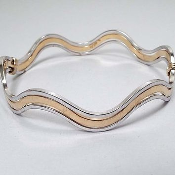 Avon Vintage Bangle Bracelet,  Wavy Two Tone, Retro 1980s 80s, Summer Jewelry