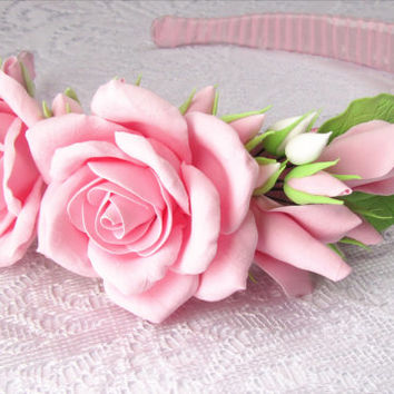 bridal flower headband for girl. wedding flower hair band