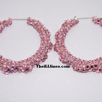 Swarovski Crystal Bamboo Hoop Earrings  Barbie Pink by TheILLlines