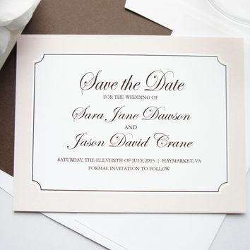 Classic Beige Save the Date Card - DEPOSIT