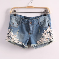 Embroidery Flower Accent Hem Ripped Denim Mini Shorts