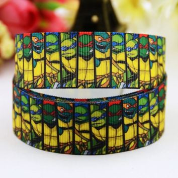 7/8'' (22mm) Teenage Mutant Ninja Turtles Cartoon Character printed Grosgrain Ribbon party decoration OEM 10 Yards X-00830