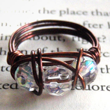 Iridescent Triple Bead Wire Wrapped Ring