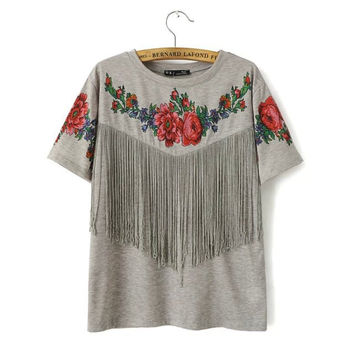 Summer Round-neck Floral Print Tassels Casual Short Sleeve Tops T-shirts [6047778945]