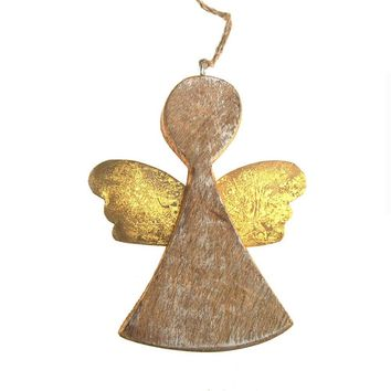 Hanging Wooden Distressed Angel with Tin Wings Christmas Ornament, Gold, 5-1/4-Inch