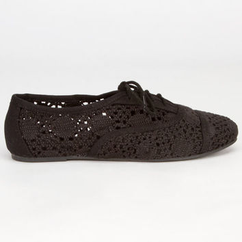 Soda Crochet Girls Oxford Shoes Black  In Sizes