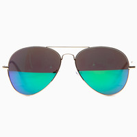 Green Blue Reflector Aviator Sunglasses