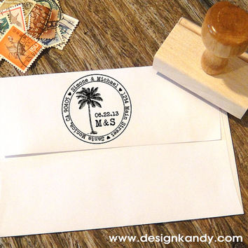 Palm Tree Address Stamp for Save the Dates & Wedding Invitations with your date and initials in a typewriter font