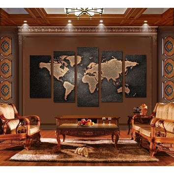 Unframed vintage world map canvas print 5 pieces globe world map painting for Living Room Bedroom Wall Decoration
