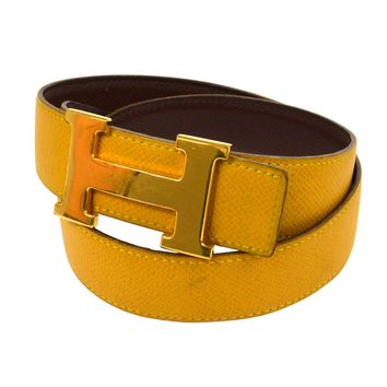 Auth HERMES Vintage H Logos Buckle Constance Reversible Belt Leather V21168