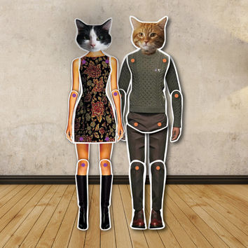 Mr. Cat and Lady Prrr - paper dolls