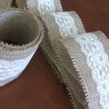 Burlap and vintage cream lace ribbon wedding by DaniellesCorner