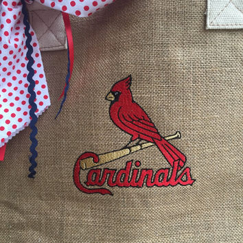 Cardinals embroidered burlap and canvas tote bag