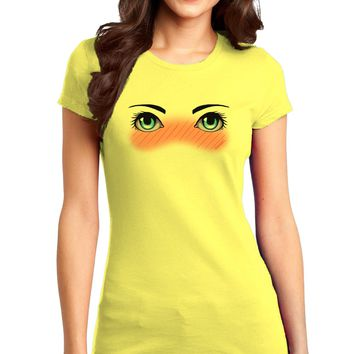 Blushing Anime Eyes Juniors Petite T-Shirt
