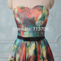 SML1458 Real Photo A line Sweetheart Floral Printed Flower Party dresses 2017 formal mini short chiffon cocktail dress