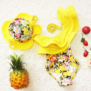 Children Swimsuits Girls One Piece Swimwear Ruffle Toddler Girl Bathing Suits With Swimming Hat Kids Swimsuits for Children