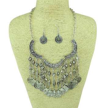 Bohemian Gypsy Necklace Earring Set Antalya Silver Coin Choker Bib Statement Fringe Turkish Bohemian Boho India (Size: 95 g, Color: Silver) = 1928770948
