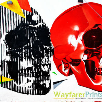 Painted Skulls Print - photography Graffiti Arts District Miami South Florida art creepy awesome unique bright red black dotd street art