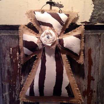 Small Brown/Cream Zebra Burlap Cross