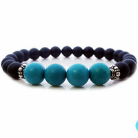 Men's Matte Black Onyx and Turquoise Bracelet, Men's Matte Black Onyx and Turquoise 925 Sterling Silver Bracelet