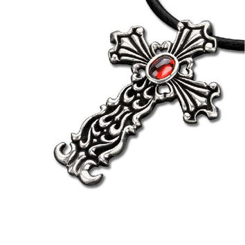 Ruby Inalid Cross Necklace Dynasty Amulet Men's Goth Jewelry (w/ LEATHER STRING)