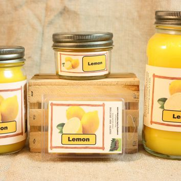 Lemon Scent Candles and Wax Melts, Fruit Scent Candle Wax, Highly Scented Candles and Wax Tarts, Clean Fresh Scent