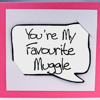 Harry Potter Quote Card - Pink Muggle Funny Quote Magnet - Fun Little Greeting Cards