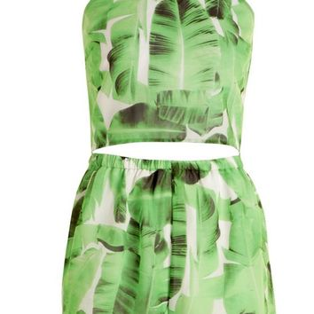 Petite Bianca Leaf Print Cami Top and Shorts Co-ord | Boohoo
