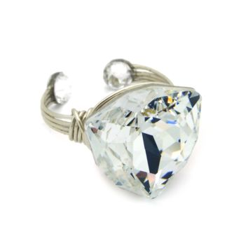 Fancy Ring in Silver-filled: Swarovski® Crystal