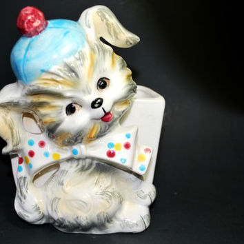 Lefton Puppy Pal Wall Pocket with Dots Hand Painted ESD Japan Collectible Figurine