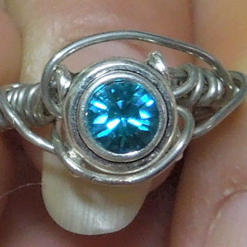Wire Wrap Swarovski crystal Size 6 1/2 Ring Handmade