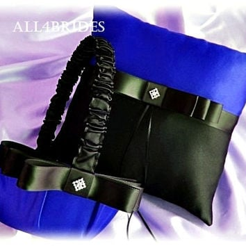 Royal blue and black weddings ring pillow and flower girl basket, Thin Blue Line themed ring cushion and basket set.