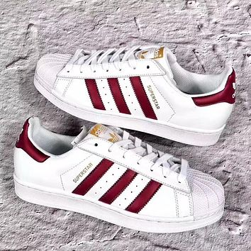 ADIDAS tide brand men and women limited edition Burgundy shellfish sports shoes