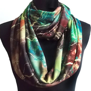 Lightening Storm Galaxy Print Soft Lycra Infinity Eternity Scarf Universe
