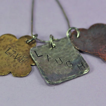 Live Laugh Love Mixed Metal Cluster Necklace
