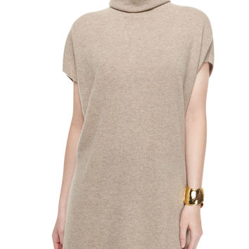 Short-Sleeve Cashmere Turtleneck Sweater, Size:
