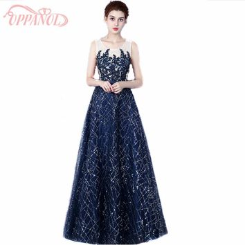 Navy Blue Long Women Formal Evening Prom Gowns With Beading Appliques Floor Length Party Dress Graduation Dress