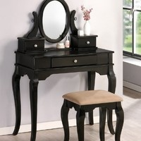 Bobkona Rylan Vanity Set with Stool, Black