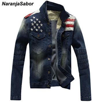 Denim Stars & Striped Slim Fit Jacket