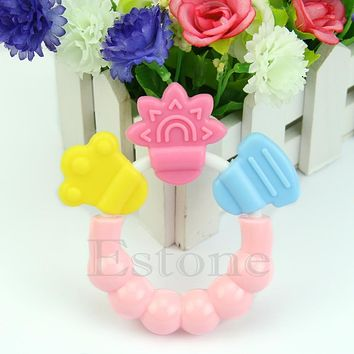 Baby Kid Toddler Teether Chew Toy Molar Rod Silicone Hand bell Jingle Design