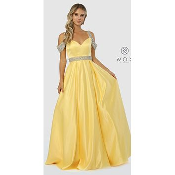 Embellished Cold-Shoulder Long Prom Dress with Pockets Yellow