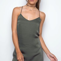 Meet Me At Sunset Slip Dress - Olive