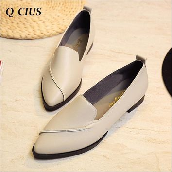 QICIUS 2017 New Autumn Women Flats Leather Pointed Toe Flats Woman Casual Shoes Oxford