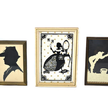 Vintage Silhouette Picture Framed Silhouette Wall Decor Silhouette Wall Art Silhouette Portraits - Set of 3