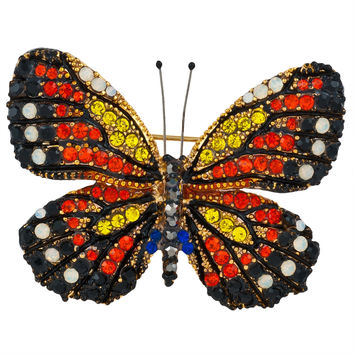 Black and Red Butterfly Jeweled Gold-Tone Pin
