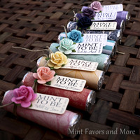 "Mint Wedding Favor with Personalized ""Mint to be"" tag - rainbow colors, garden wedding, roses, bright, colorful"