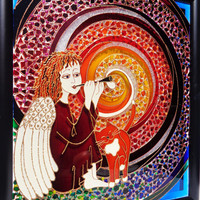 "Angel & Cat art 14""x12"" Life spiral art Glass painting Wall decor Painted glass"