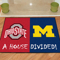 """Ohio State - Michigan House Divided Rug 33.75""""""""x42.5"""""""""""