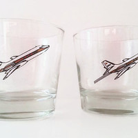 Vintage Flying airplane drinking Glasses - Vintage airline Cocktail glasses - Novelty Drinking Glasses Set of 2
