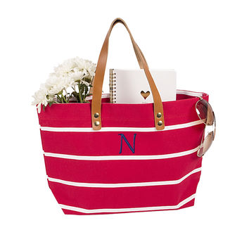 Red Personalized Coral Striped Tote with Leather Handles
